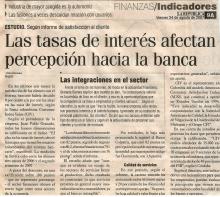Tasas de interés afectan percepción hacia la banca.