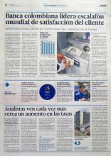 Banca colombiana lidera escalafón mundial de satisfacción del cliente