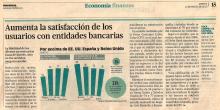 Aumenta la satisfacción de los usuarios con entidades bancarias