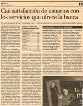Cae satisfacción de usuarios con los servicios que ofrece la banca