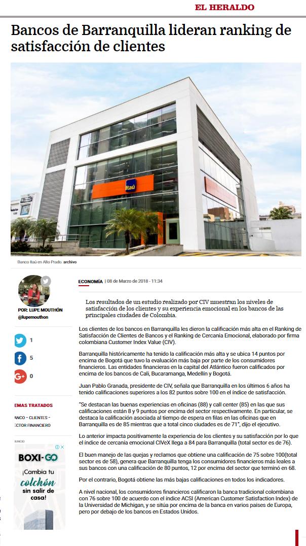 Bancos en Barranquilla lideran lideran ranking de satisfacción de clientes