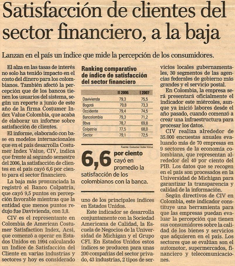 Satisfacción de clientes del sector financiero, a la baja.