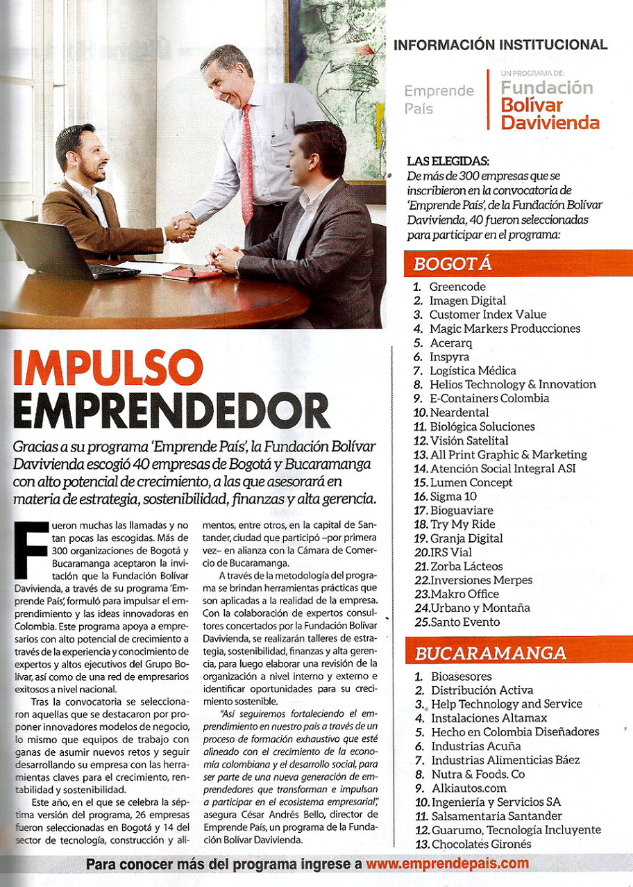 Customer Index Value, es elegida entre 300 empresas para participar en el Programa Emprende País de la Fundación Bolívar Davivienda