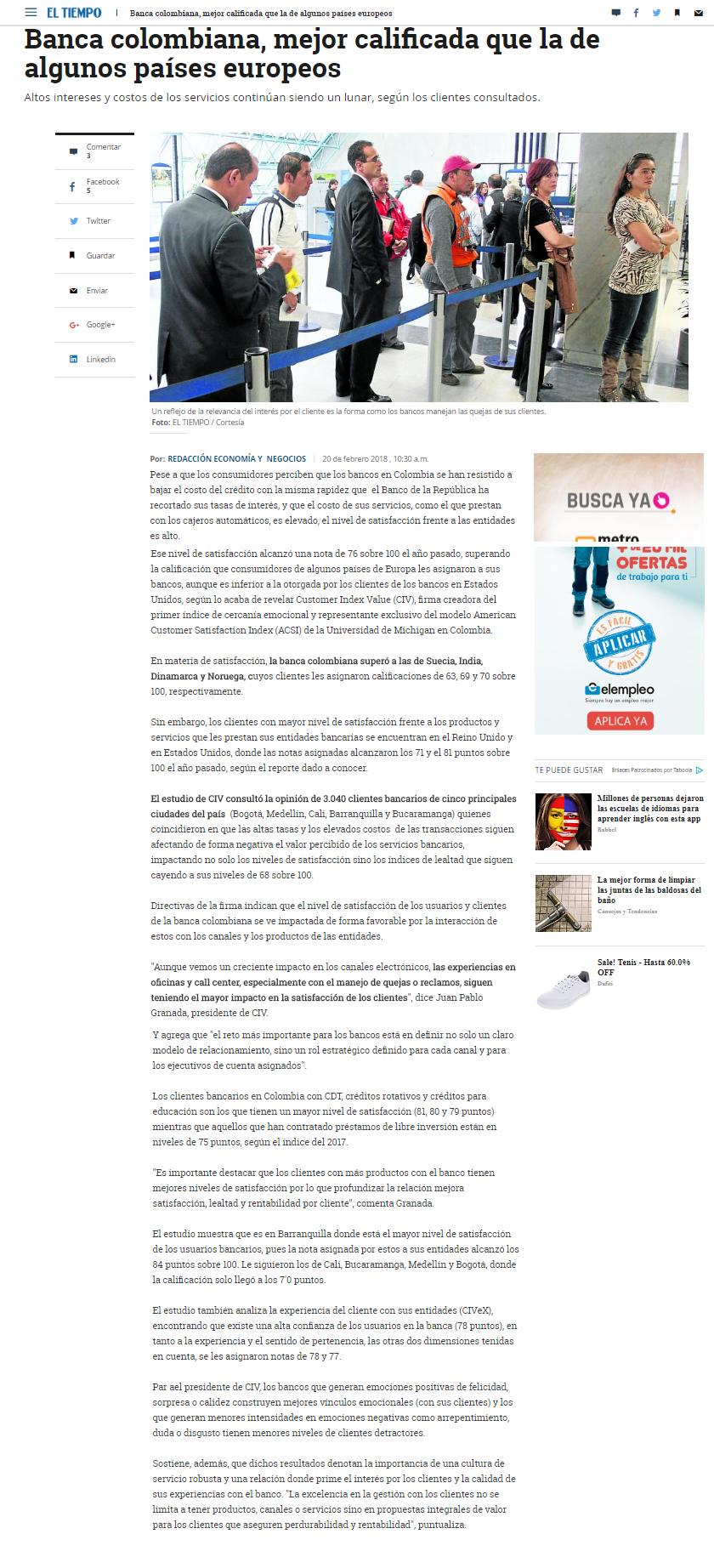 Banca colombiana, mejor calificada que la de algunos países europeos