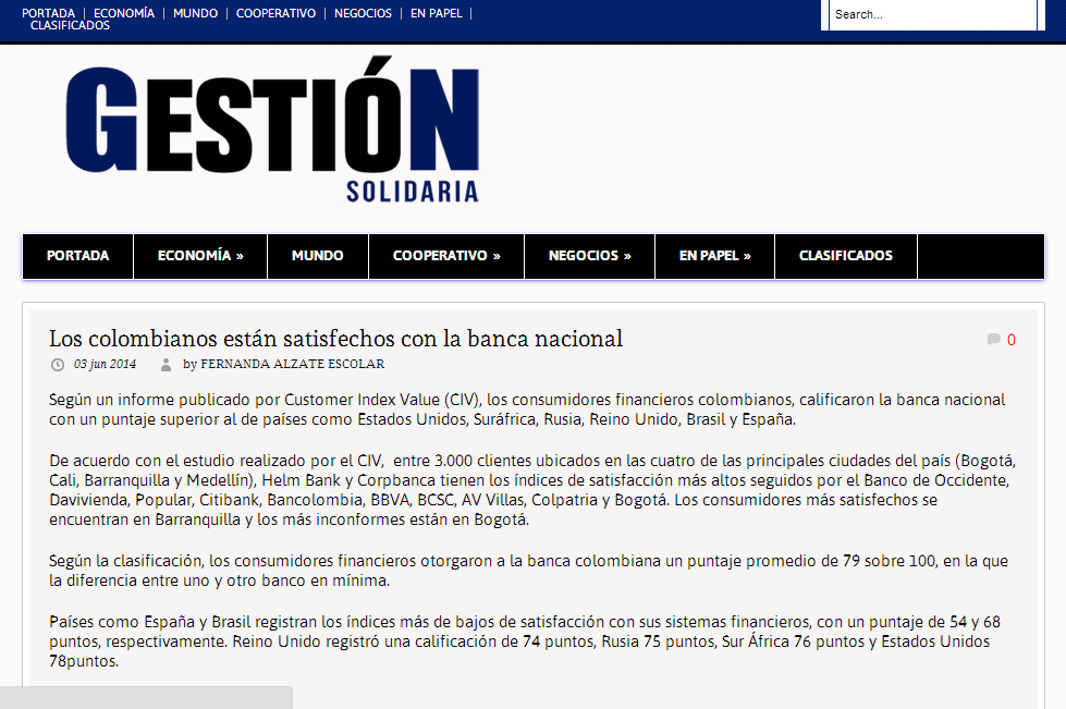 Los colombianos están satisfechos con la banca nacional