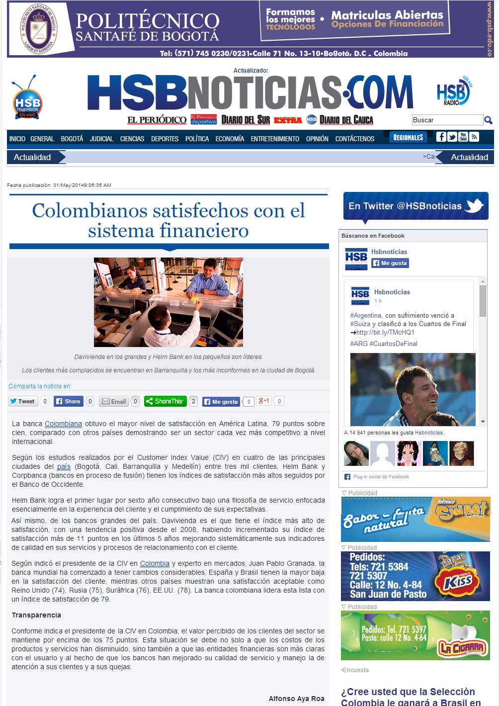 Colombianos satisfechos con el sistema financiero