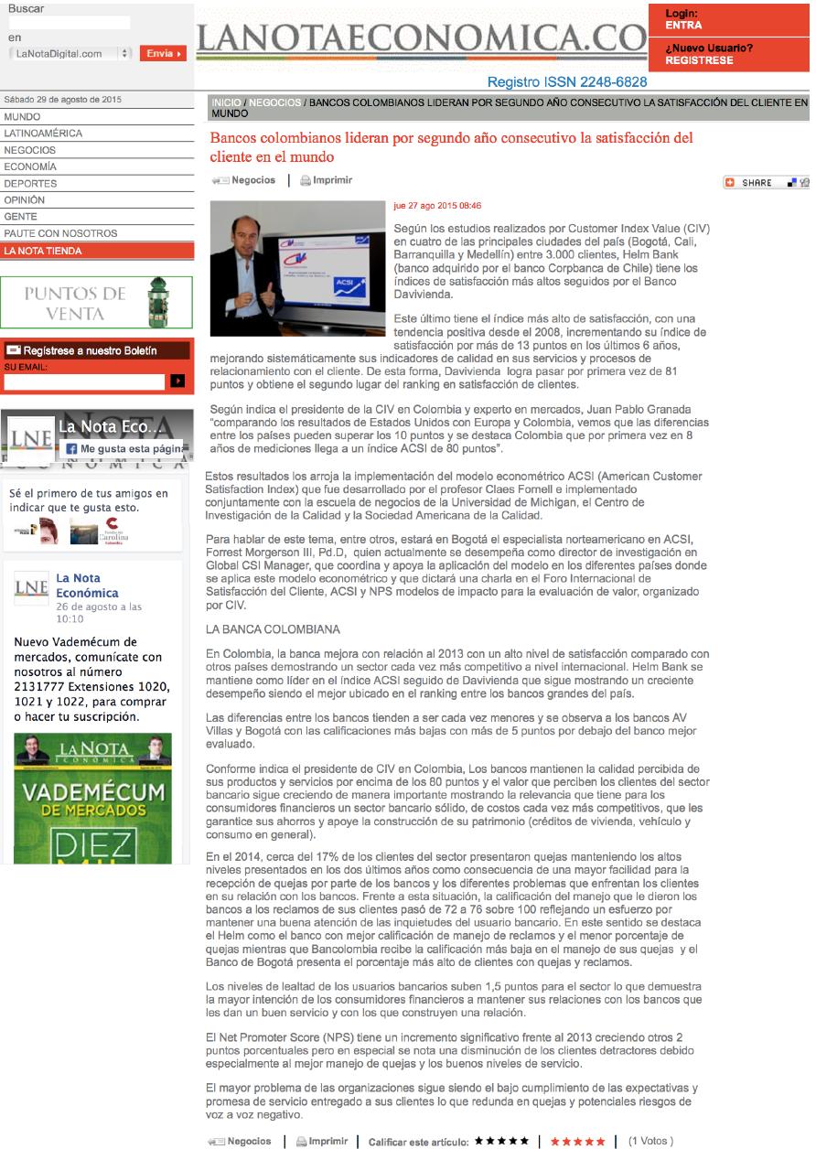 Bancos colombianos lideran por segundo año consecutivo la satisfacción del cliente en el mundo