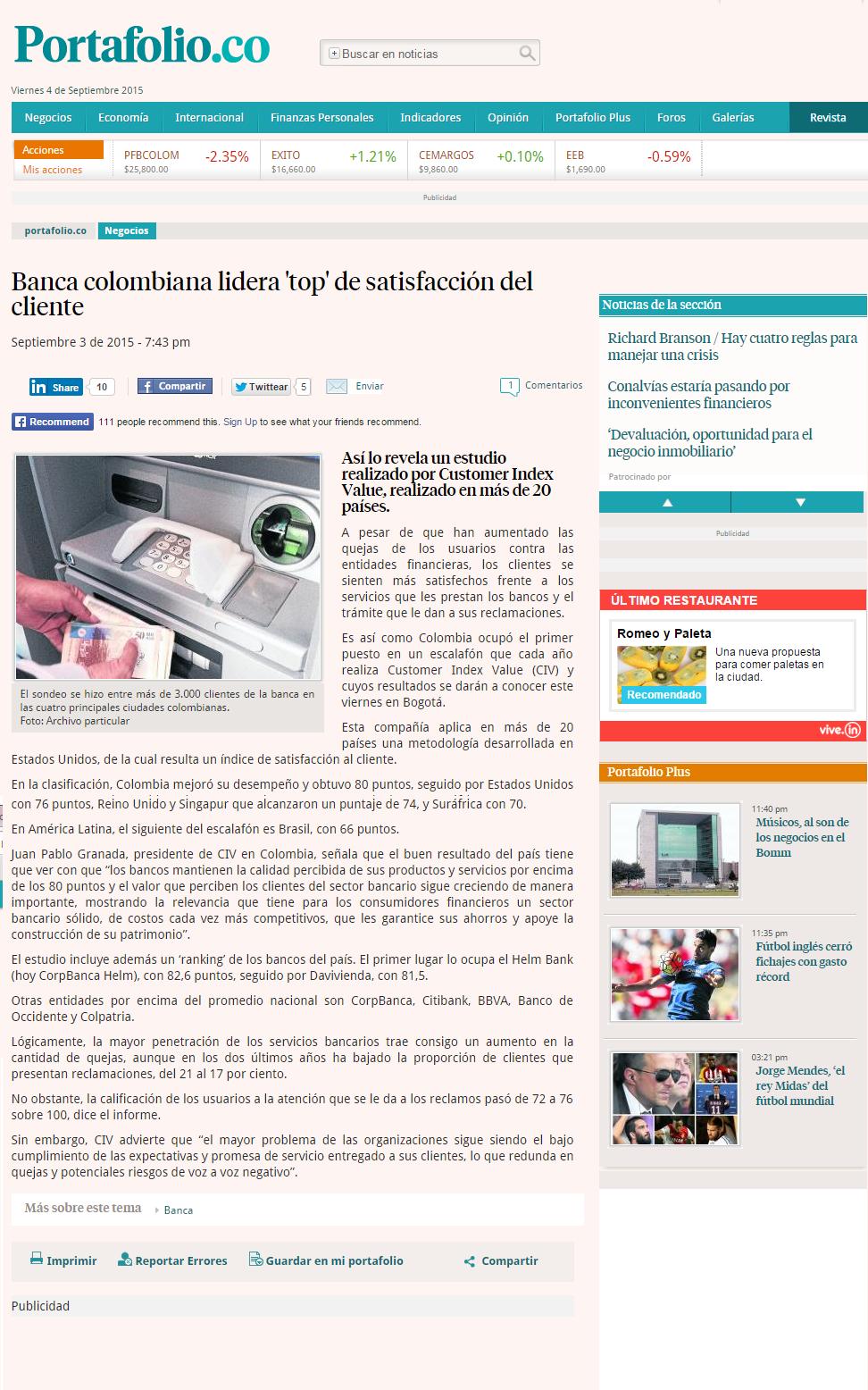 Helm Bank y Davivienda lideran índice de satisfacción de clientes
